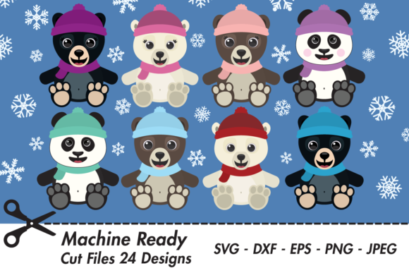 Download Free Cute Winter Bear And Snowflake Bundle Graphic By Captaincreative for Cricut Explore, Silhouette and other cutting machines.