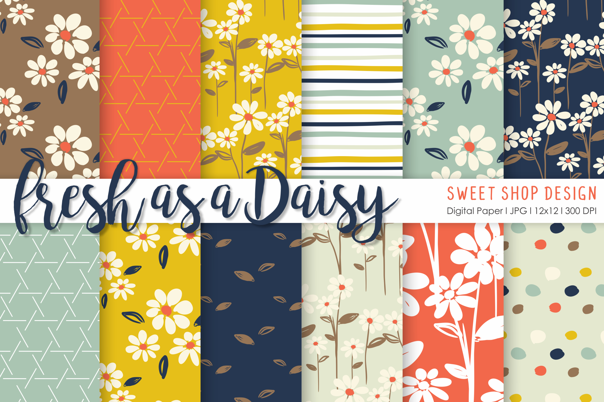 Download Free Digital Paper Fresh As A Daisy Set Of 12 Graphic By Sweet Shop for Cricut Explore, Silhouette and other cutting machines.