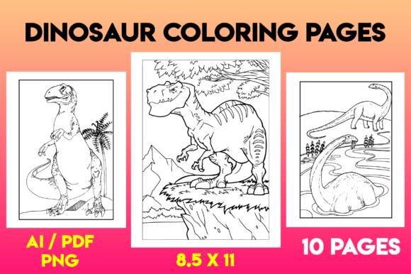 Dinosaur Coloring Page for Adults Graphic Coloring Pages & Books Adults By MK DESIGNS