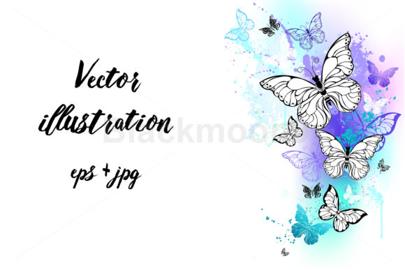 Flying Butterflies Watercolor Graphic Illustrations By Blackmoon9
