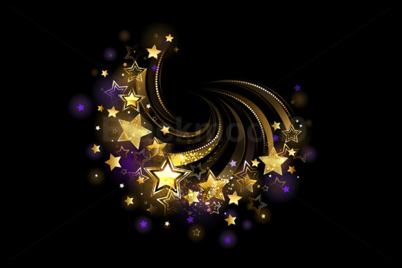 Flying Gold Stars Graphic Illustrations By Blackmoon9