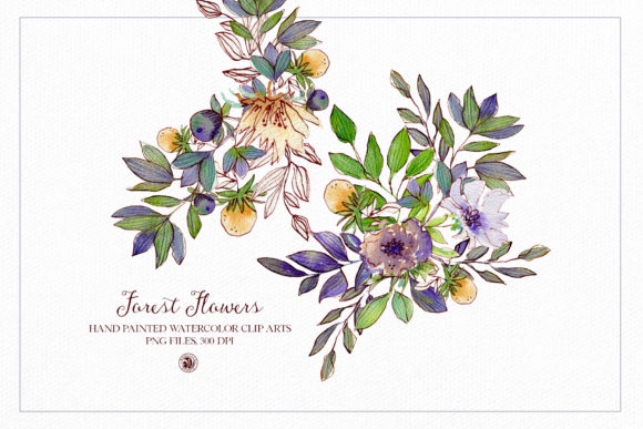Forest Flowers - Watercolor Set Graphic Illustrations By webvilla