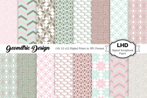 Geometric Pastel Digital Paper Patterns Graphic Patterns By LeskaHamatyDesign