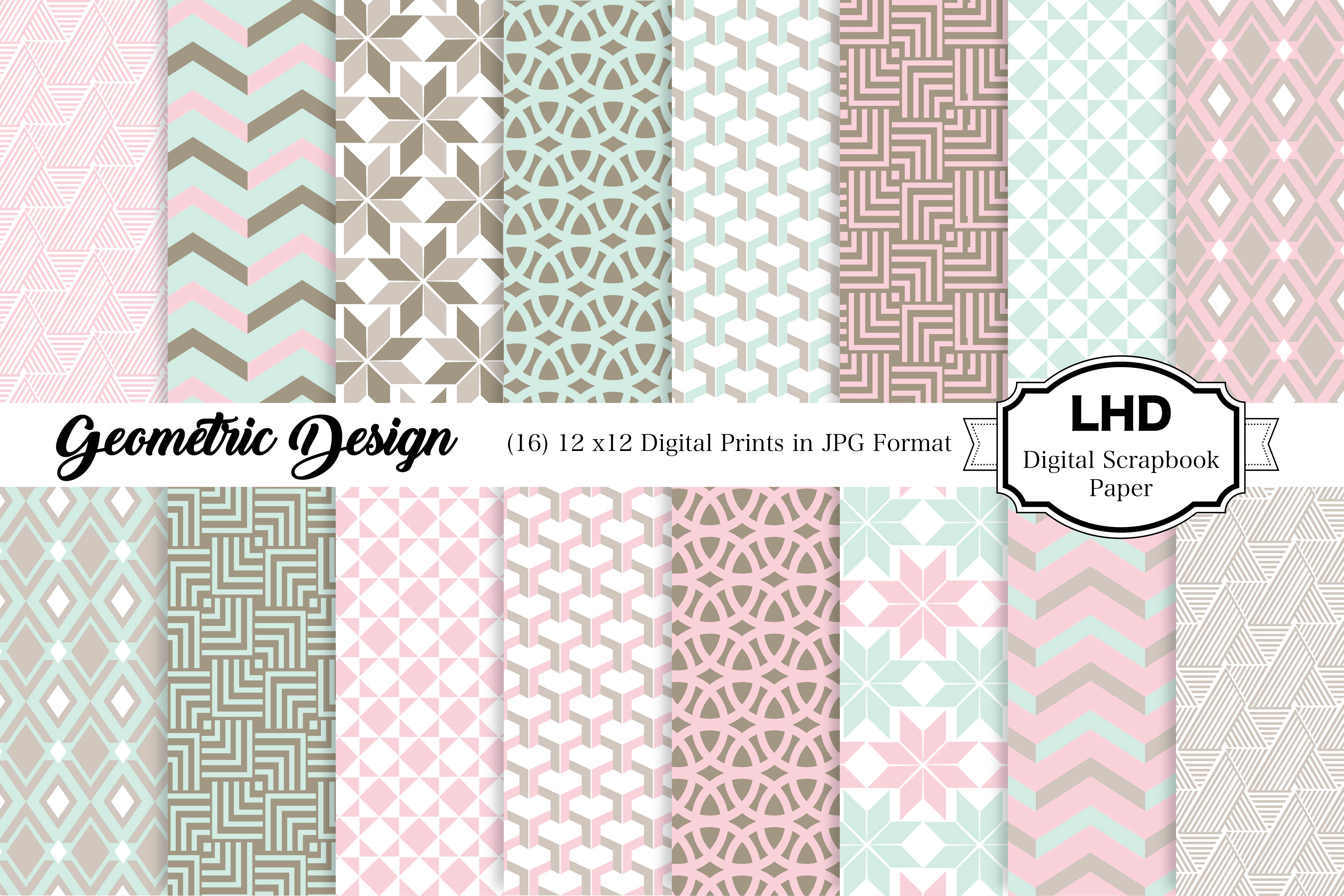 Download Free Geometric Pastel Digital Paper Patterns Graphic By for Cricut Explore, Silhouette and other cutting machines.