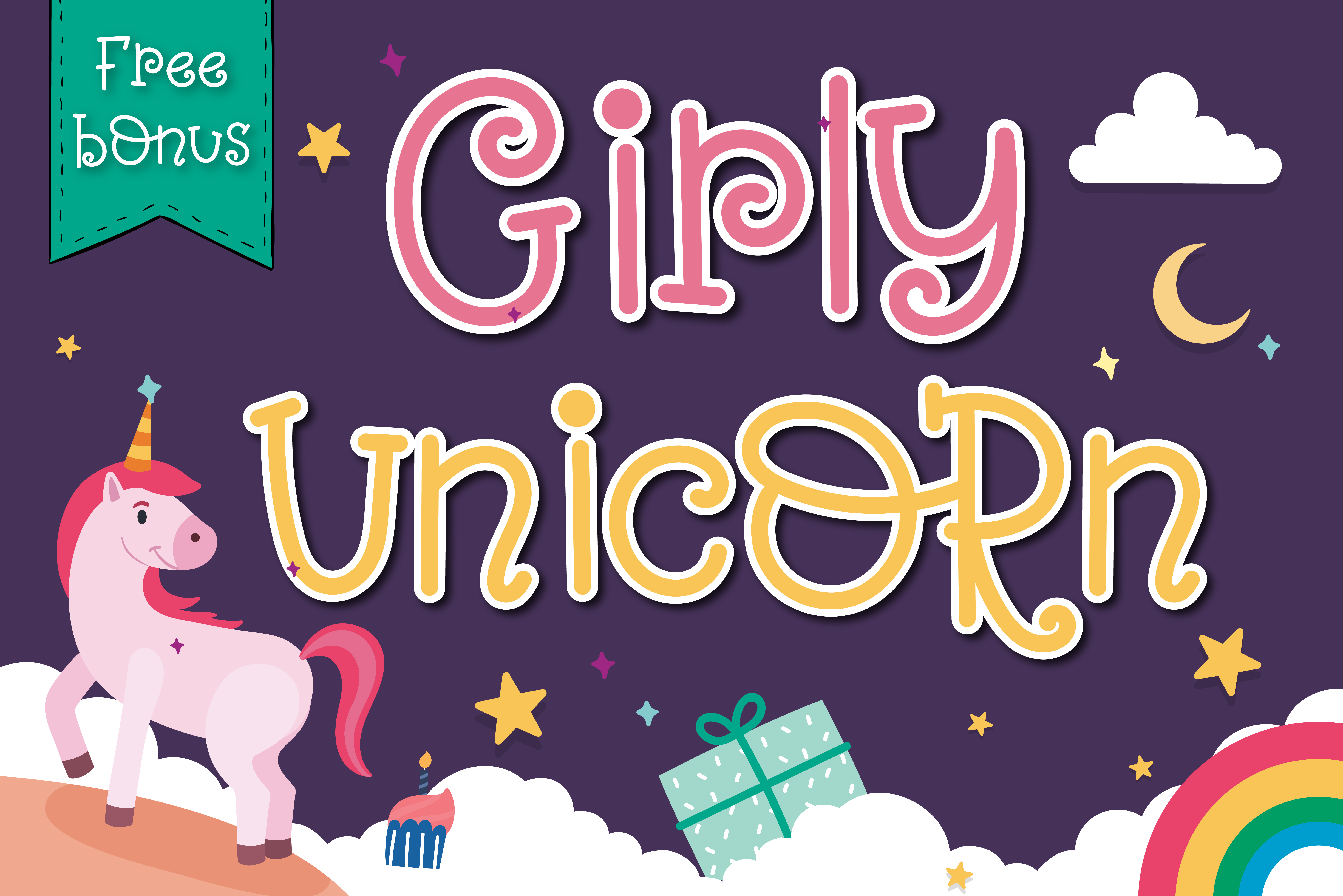 Download Free Girly Unicorn Font By Vividdiy8 Creative Fabrica for Cricut Explore, Silhouette and other cutting machines.