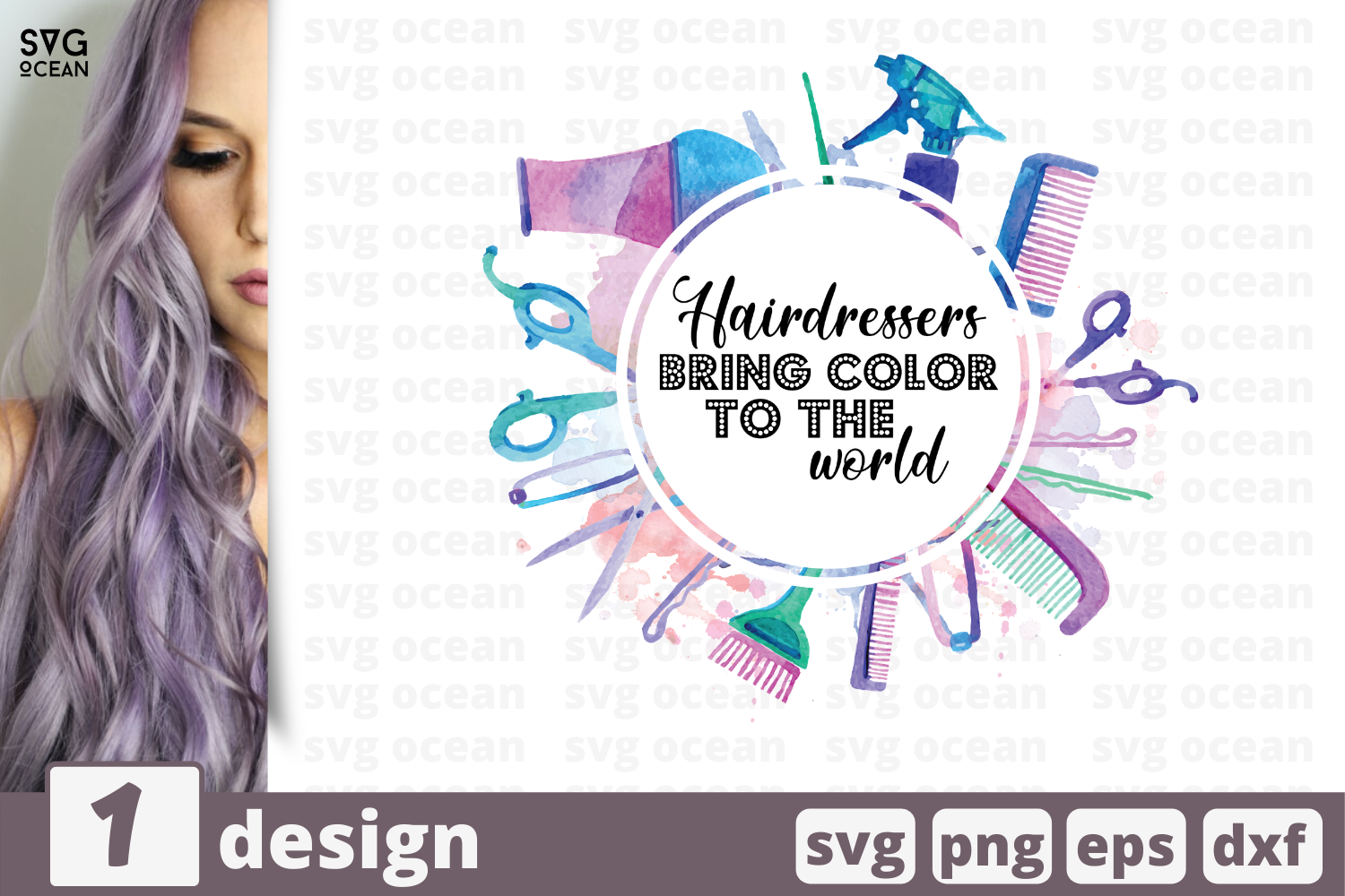 Download Free Hairdresser Bring Color To The World Graphic By Svgocean for Cricut Explore, Silhouette and other cutting machines.