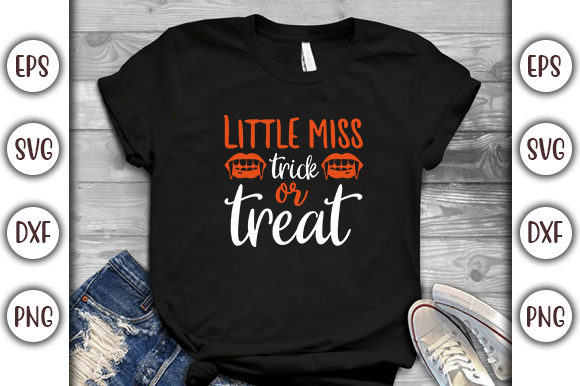 Print on Demand: Halloween Quotes Design, Little Miss Graphic Print Templates By GraphicsBooth