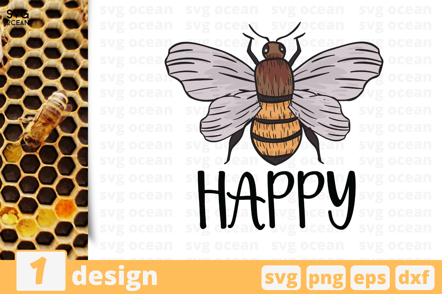 Download Free Happy Bee Graphic By Svgocean Creative Fabrica for Cricut Explore, Silhouette and other cutting machines.