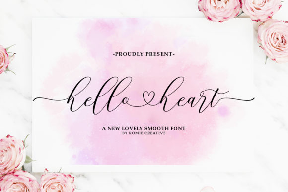 Print on Demand: Hello Heart Manuscrita Fuente Por Romie Creative