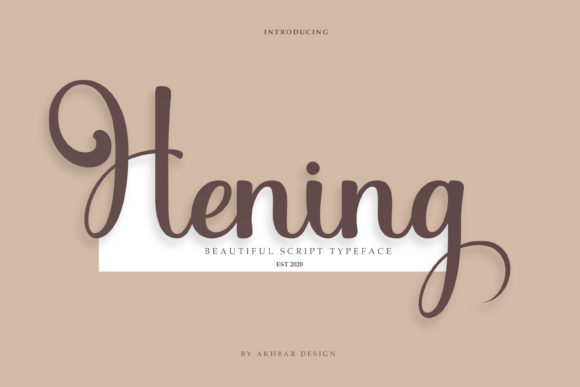 Print on Demand: Hening Script & Handwritten Font By akbarmuharram47