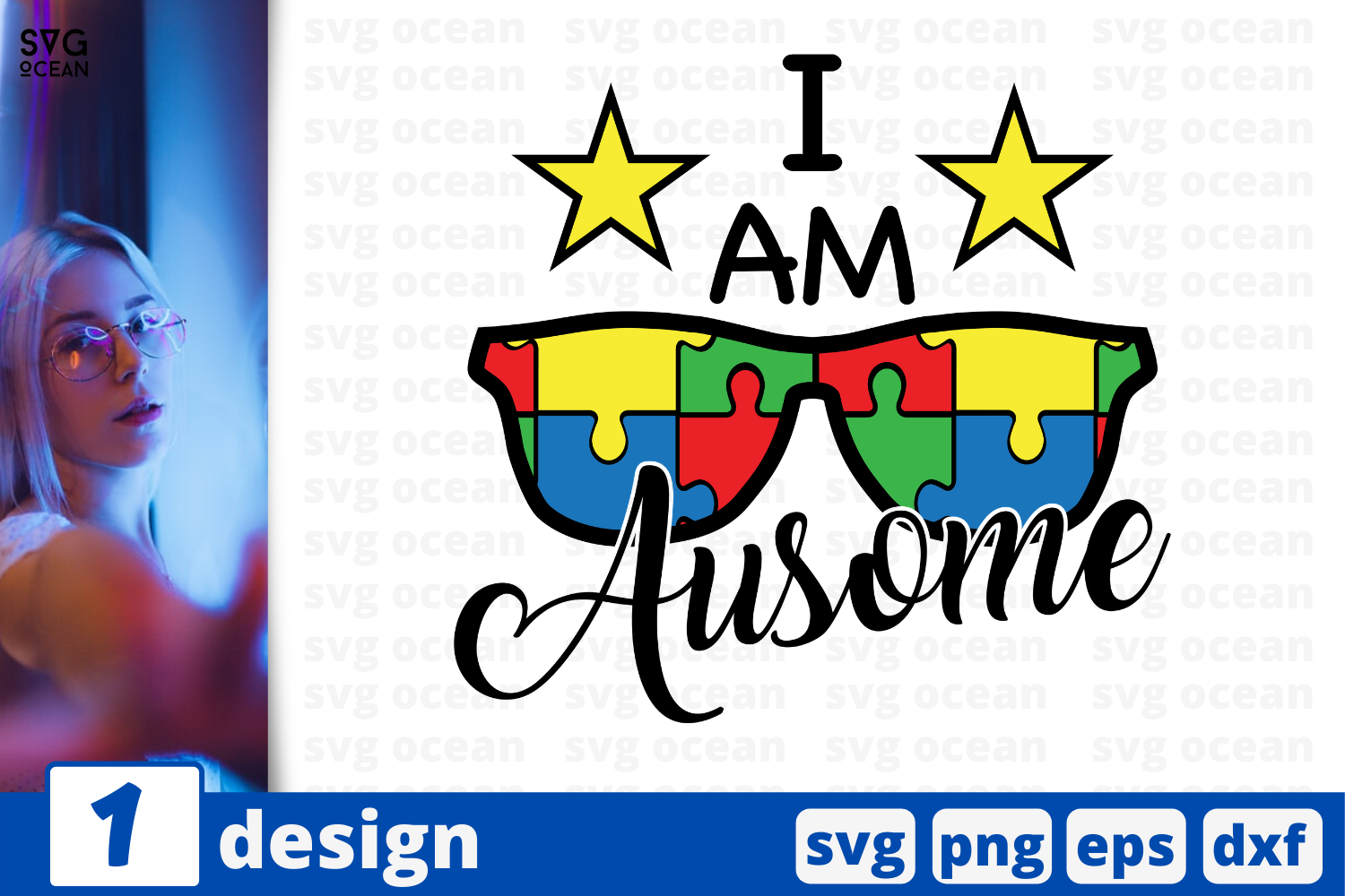 Download Free I Am Ausome Graphic By Svgocean Creative Fabrica for Cricut Explore, Silhouette and other cutting machines.