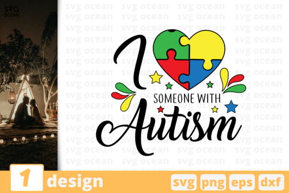 Download Free I Love Someone With Autism Graphic By Svgocean Creative Fabrica for Cricut Explore, Silhouette and other cutting machines.