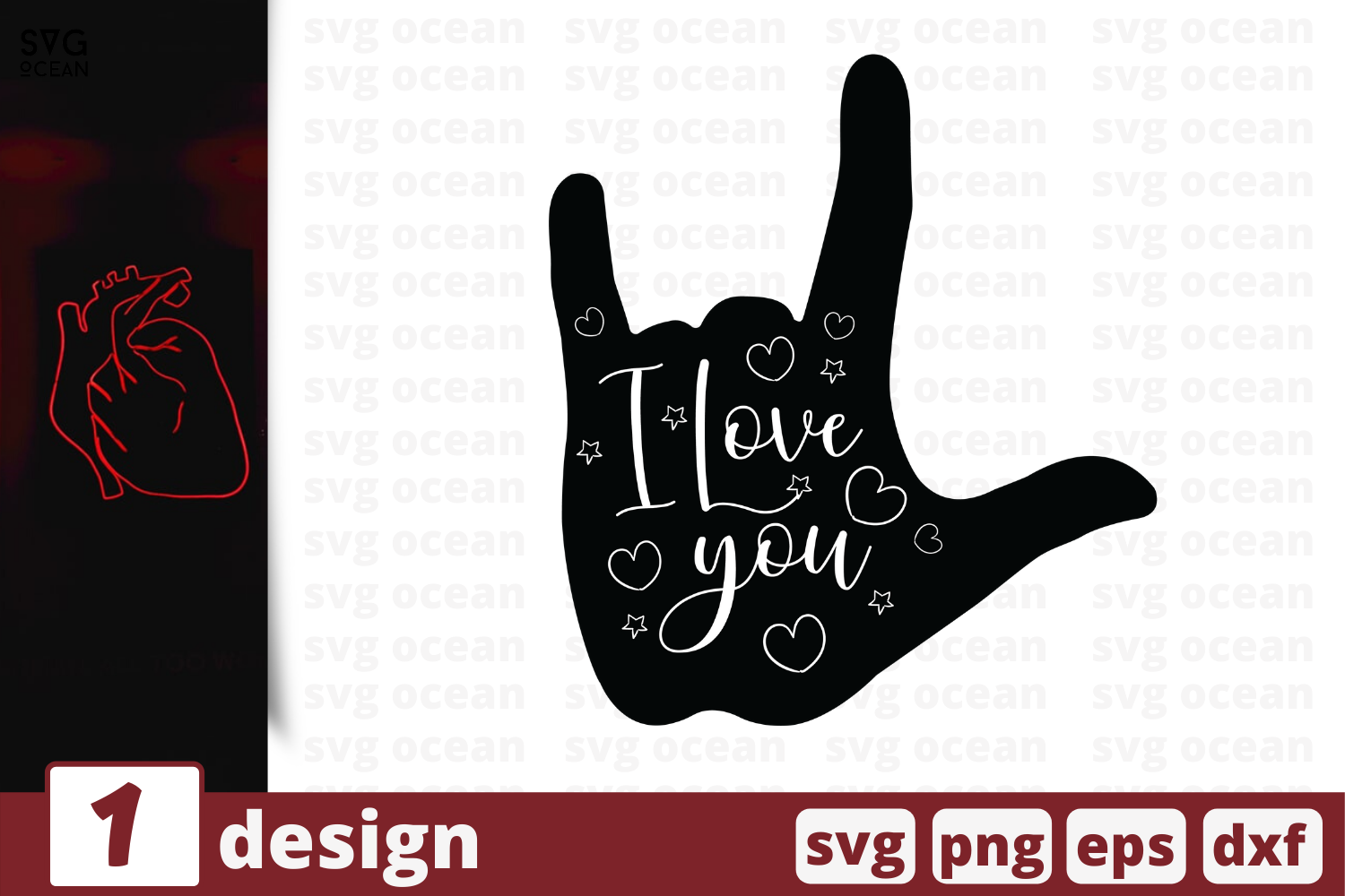Download Free I Love You Graphic By Svgocean Creative Fabrica for Cricut Explore, Silhouette and other cutting machines.