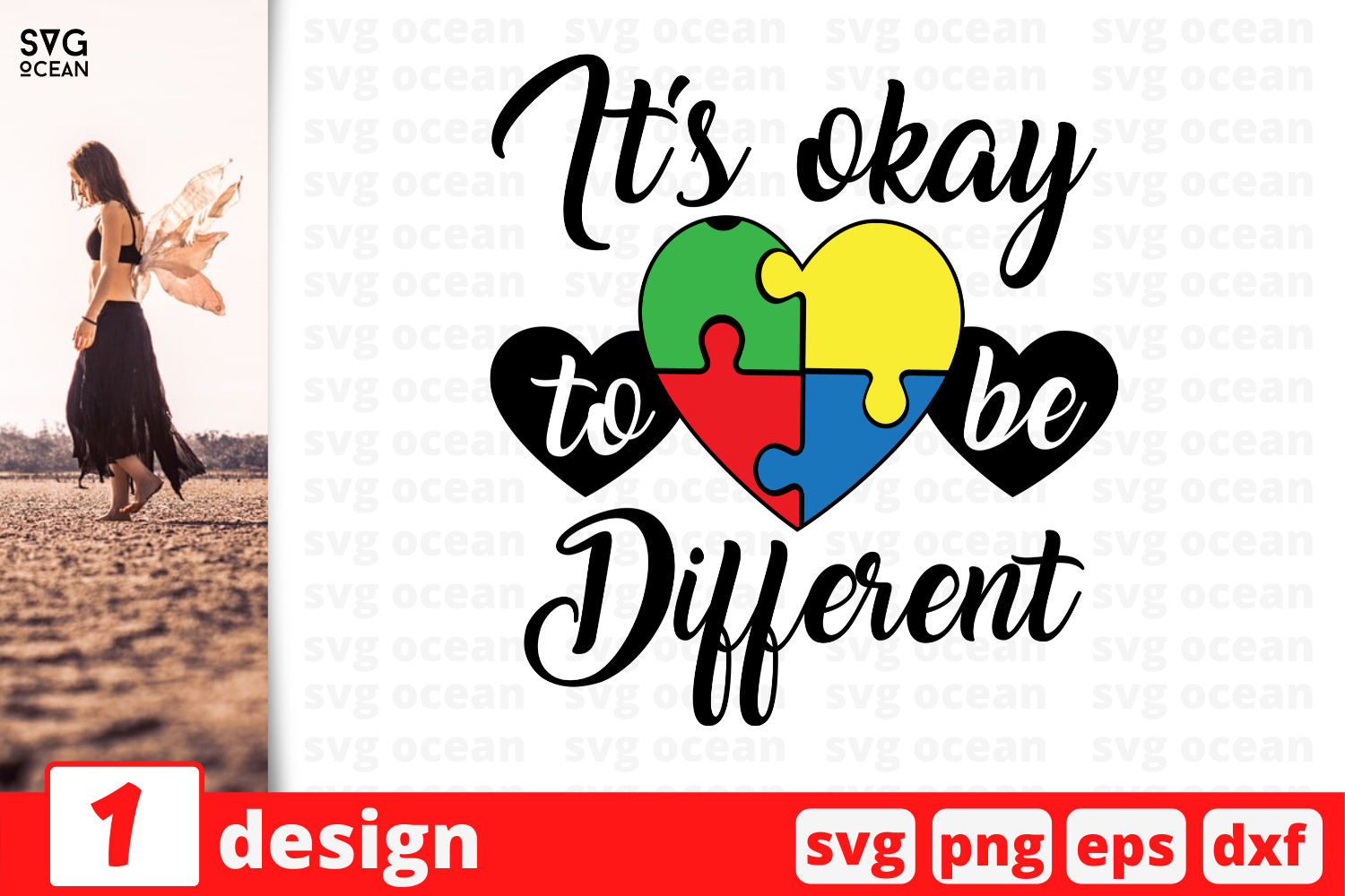 Download Free It S Okay To Be Different Graphic By Svgocean Creative Fabrica for Cricut Explore, Silhouette and other cutting machines.