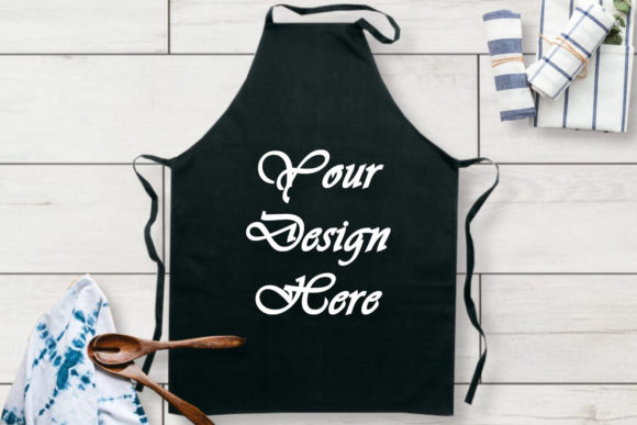 Kitchen Black Apron Mockups Graphic Product Mockups By MockupsByGaby