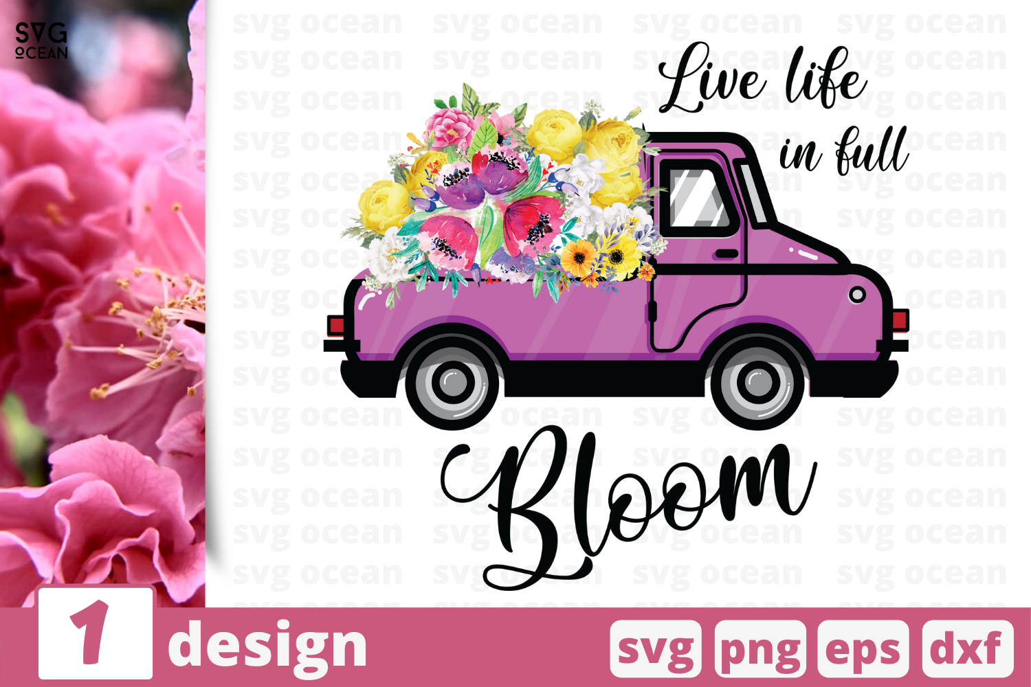 Download Free Live Life In Bloom Graphic By Svgocean Creative Fabrica for Cricut Explore, Silhouette and other cutting machines.