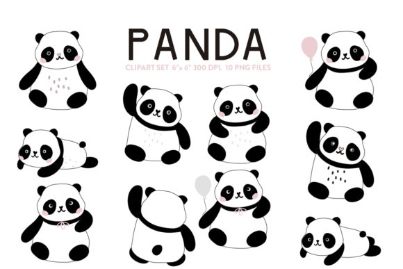 Love Pandas Clipart Graphic Crafts By Nina Prints