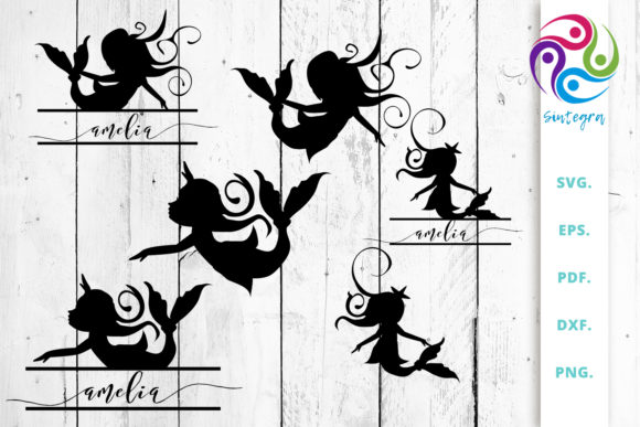 Print on Demand: Mermaids Silhouettes and Split Cut Files Graphic Crafts By Sintegra