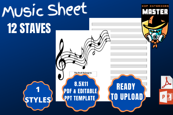 Download Free Music Sheet 12 Staves Graphic By Kdp Interiors Master Creative Fabrica for Cricut Explore, Silhouette and other cutting machines.