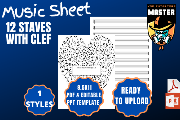 Download Free Music Sheet 12 Staves With Clef Graphic By Kdp Interiors Master for Cricut Explore, Silhouette and other cutting machines.