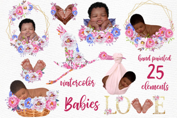 Newborn Clipart Cute Babies Grafik Illustrationen von LeCoqDesign