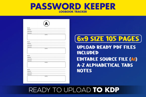 Download Free Password Logbook Tracker Kdp Interior Graphic By Beast for Cricut Explore, Silhouette and other cutting machines.