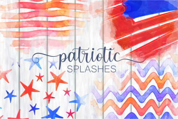 Print on Demand: Patriotic America July Fourth Splashes Graphic Backgrounds By Prawny - Image 1