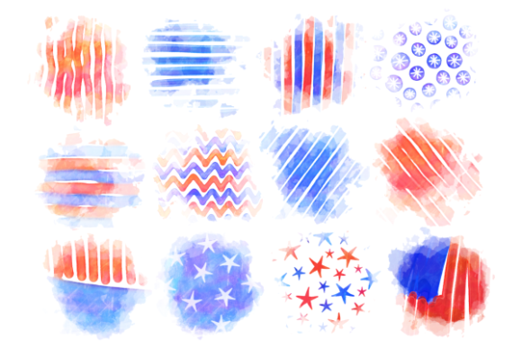 Print on Demand: Patriotic America July Fourth Splashes Graphic Backgrounds By Prawny - Image 3