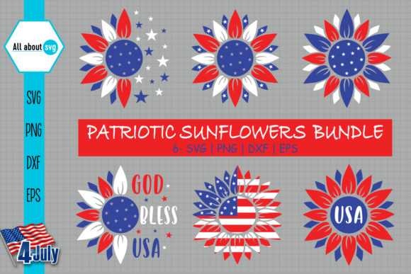 Download Free Patriotic Sunflower Bundle Graphic By All About Svg Creative for Cricut Explore, Silhouette and other cutting machines.