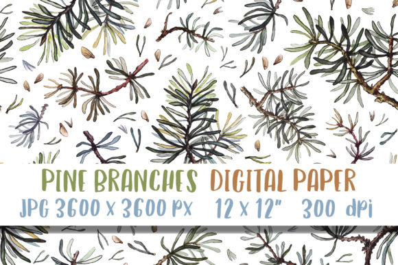 Pine Tree Watercolor Digital Paper Art Graphic Patterns By GreenWolf Art