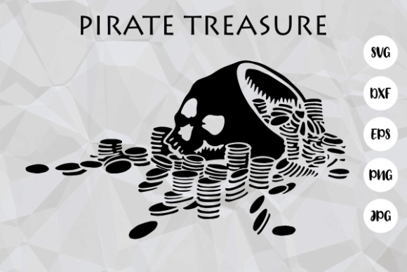 Print on Demand: Pirate Skull Gold Treasure Cut File Graphic Crafts By Prawny
