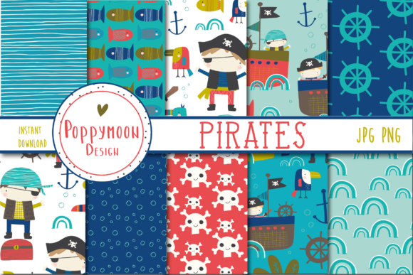 Print on Demand: Pirates Fun Paper Grafik Muster von poppymoondesign