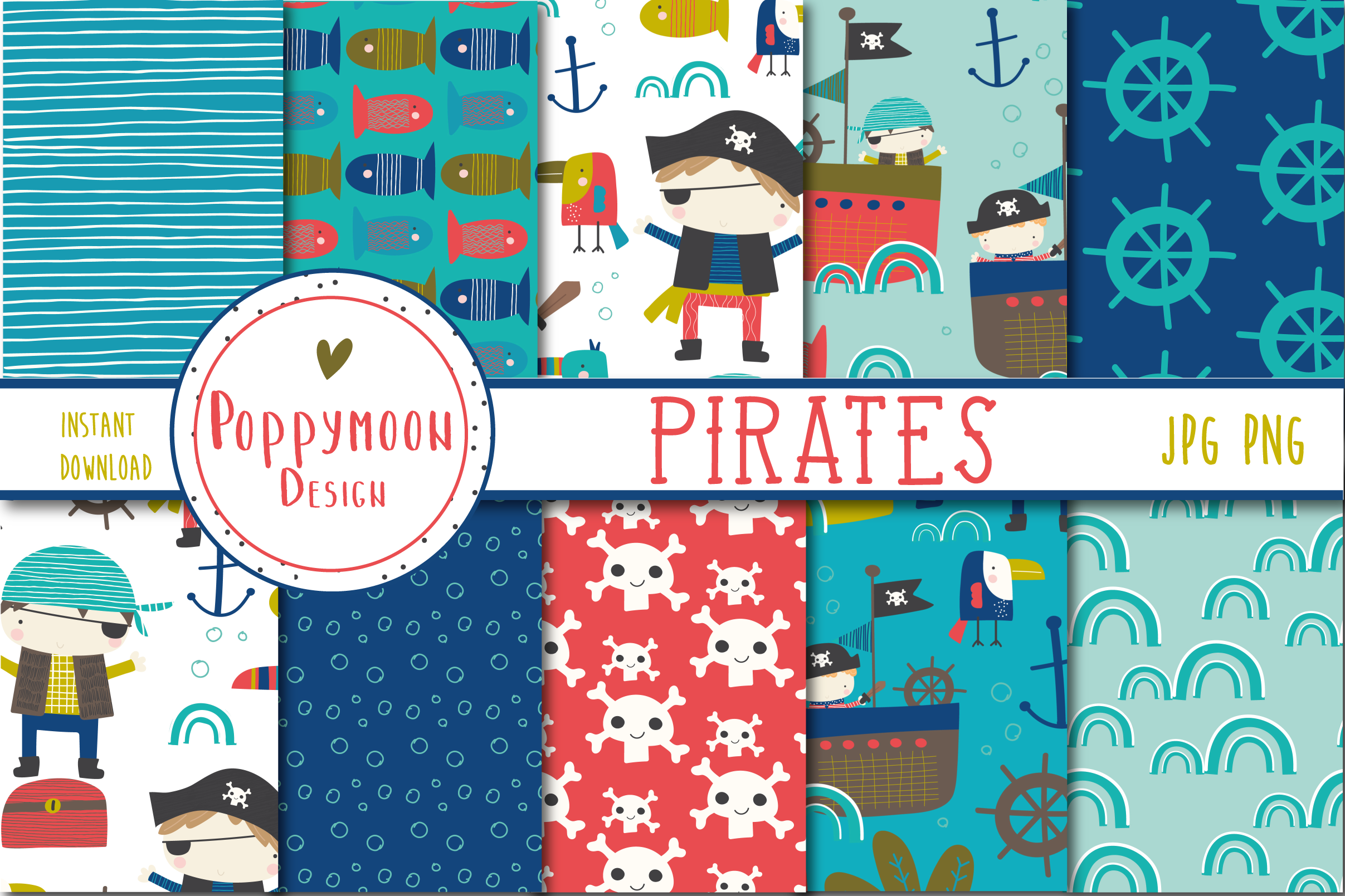 Download Free Pirates Fun Paper Graphic By Poppymoondesign Creative Fabrica for Cricut Explore, Silhouette and other cutting machines.
