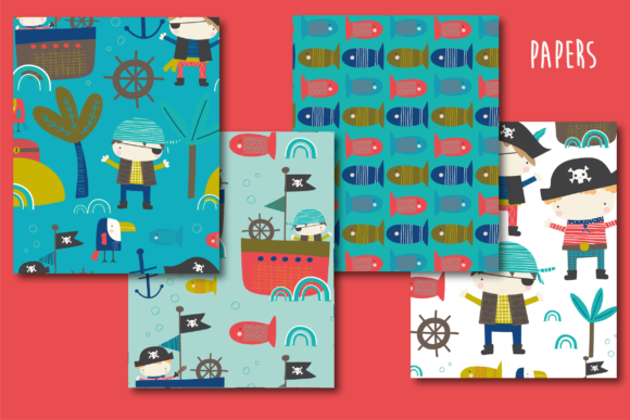 Print on Demand: Pirates Fun Paper Graphic Patterns By poppymoondesign - Image 2