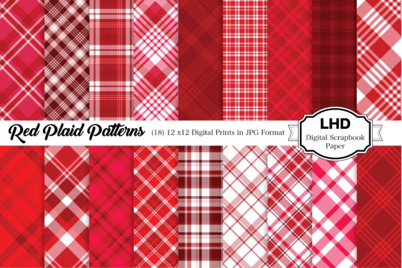 Red Plaid Patterns - Digital Paper Graphic Patterns By LeskaHamatyDesign