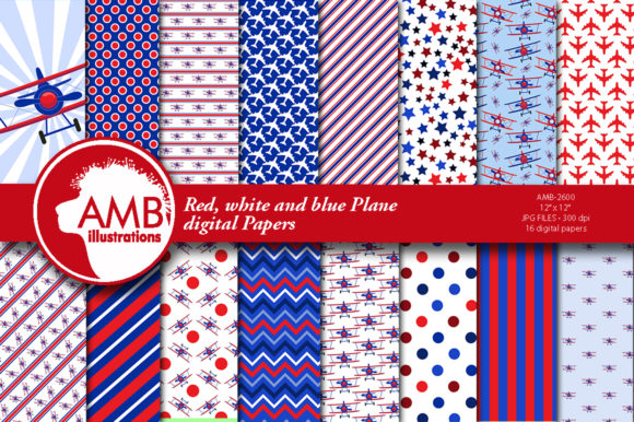 Red, White and Blue Airplane Papers 2600 Graphic Patterns By AMBillustrations