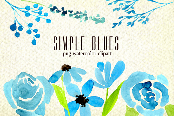 Print on Demand: Simple Blue Florals Watercolor Clipart Graphic Illustrations By roselocket