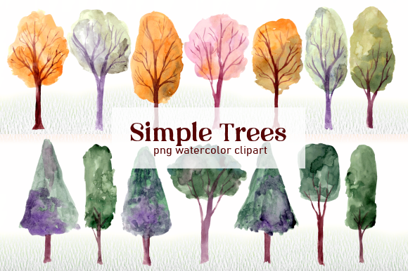 Print on Demand: Simple Trees Watercolor Clipart Set Graphic Illustrations By roselocket