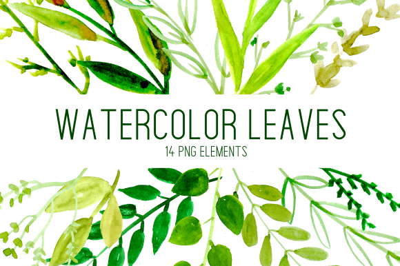Print on Demand: Simple Watercolor Leaves Clipart Set Graphic Illustrations By roselocket