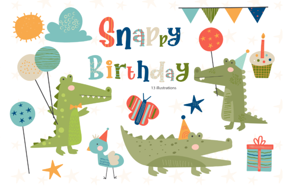 Print on Demand: Snappy Birthday Graphic Illustrations By poppymoondesign