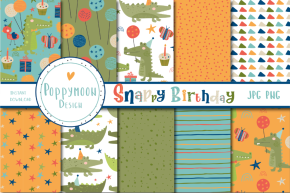 Print on Demand: Snappy Birthday Paper Graphic Patterns By poppymoondesign