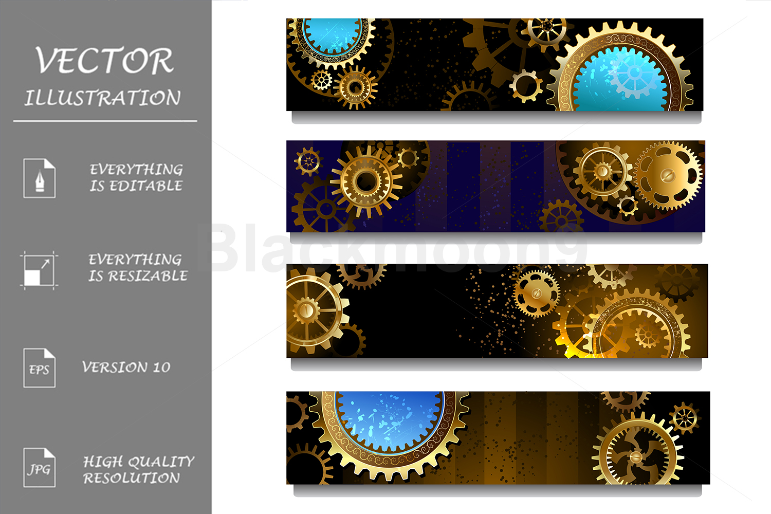 Download Free Steampunk Four Banners With Gears Graphic By Blackmoon9 for Cricut Explore, Silhouette and other cutting machines.