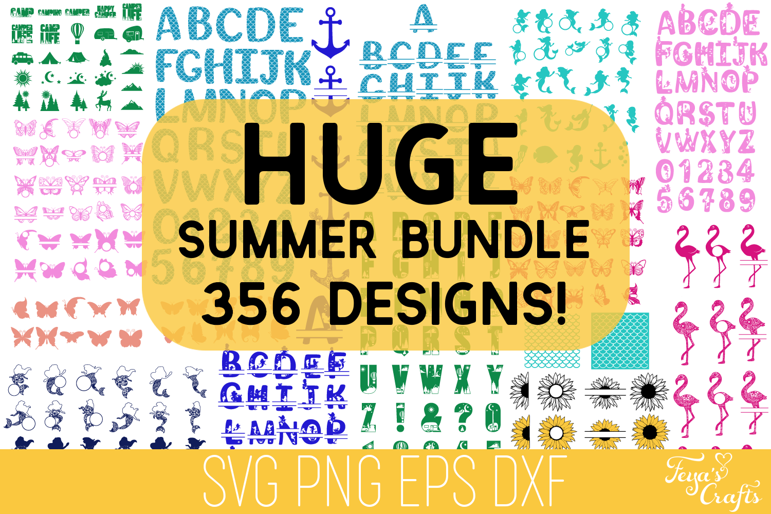 Download Free Summer Mermaid Bundle Graphic By Anastasia Feya Creative Fabrica for Cricut Explore, Silhouette and other cutting machines.