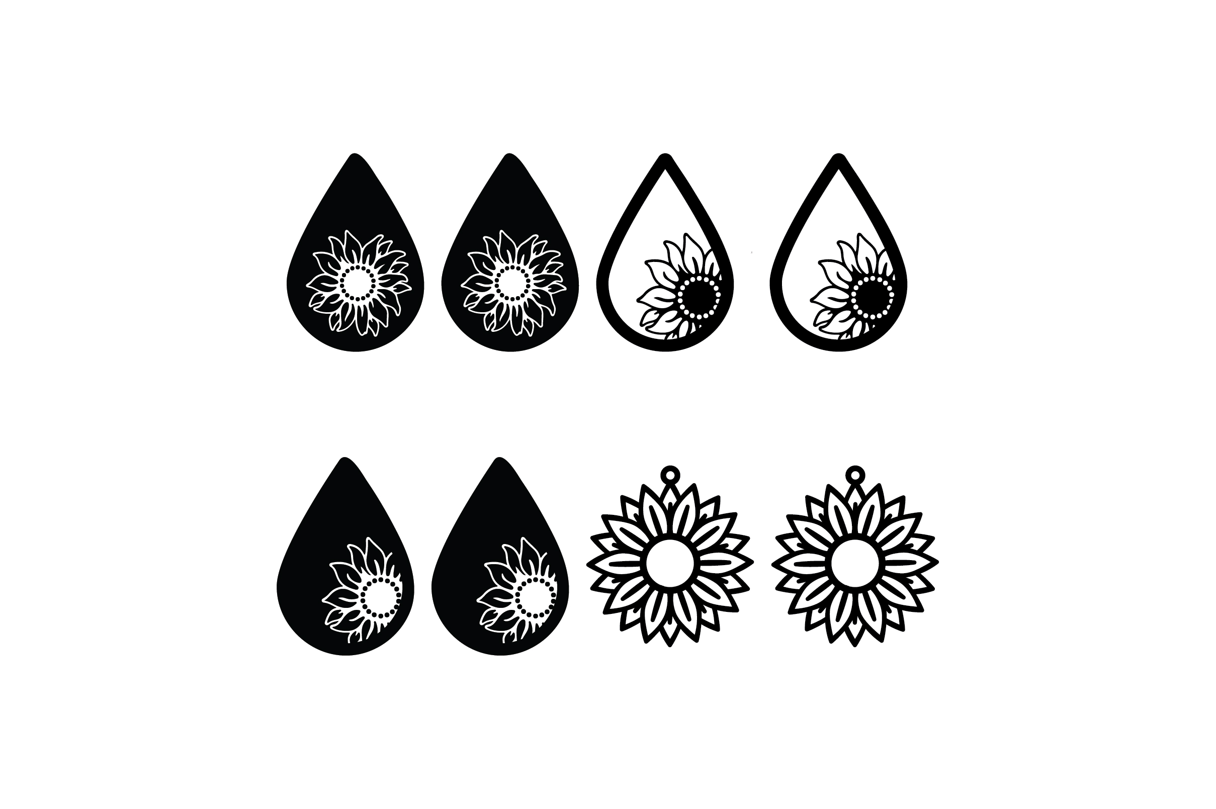 Download Free Sun Flower Earrings Bundle Graphic By Fauzidea Creative Fabrica for Cricut Explore, Silhouette and other cutting machines.