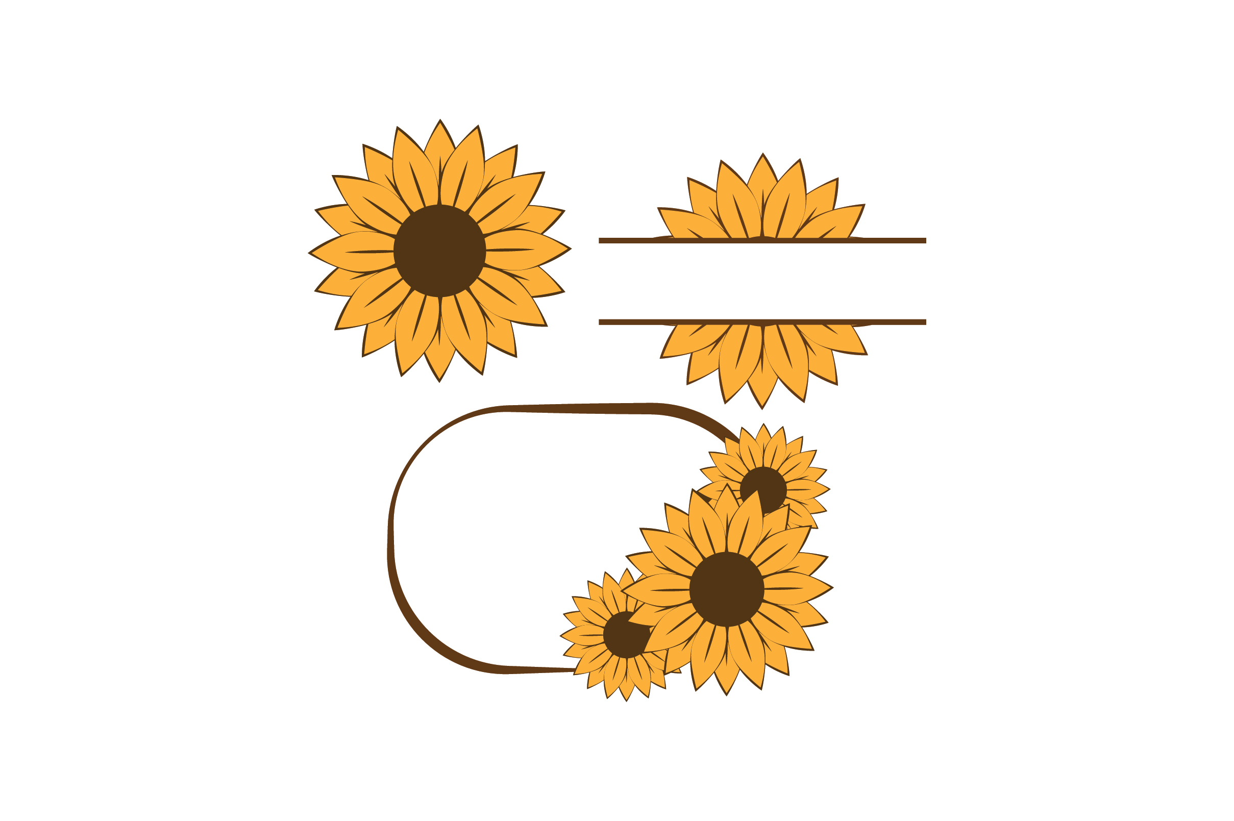 Download Free Sunflower Wreath Graphic By Fauzidea Creative Fabrica for Cricut Explore, Silhouette and other cutting machines.