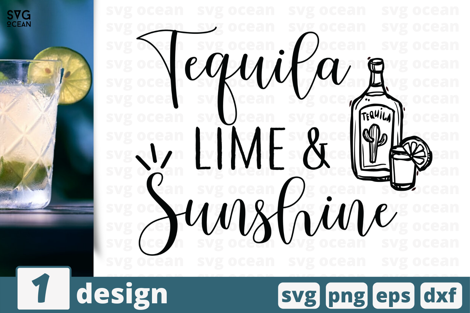 Download Free Tequila Lime Sunshine Graphic By Svgocean Creative Fabrica for Cricut Explore, Silhouette and other cutting machines.