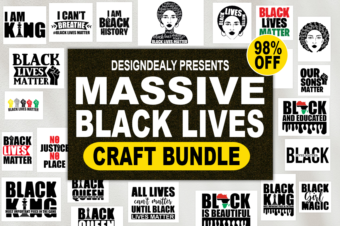 Download Free The Massive Black Lives Craft Bundle Graphic By Designdealy Com for Cricut Explore, Silhouette and other cutting machines.