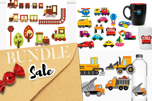 Print on Demand: Transportation Vehicle Bundle Graphic Illustrations By Revidevi
