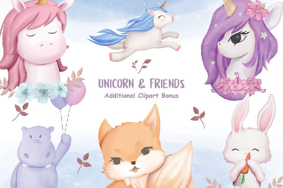 Unicorn and Friends + Clipart  Gráfico Ilustraciones Por alolieli