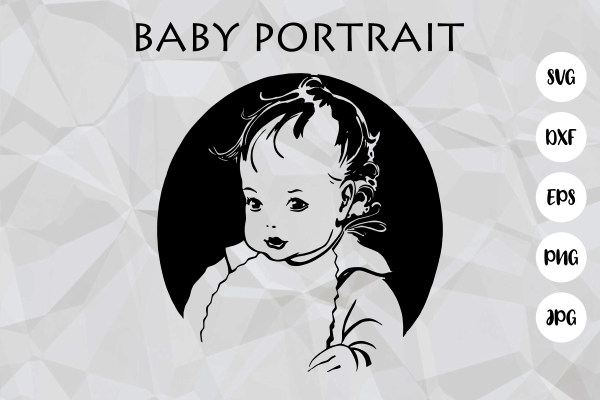 Download Free Vintage Cute Baby Face Portrait Cut File Graphic By Prawny for Cricut Explore, Silhouette and other cutting machines.